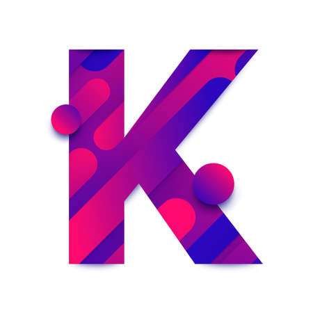 Alphabet type K. typeface in abstract gradient background. Vector Illustrate.