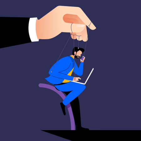 Illustration style cartoon concept the boss control employee with micro management like a puppet. Business issue. Vector illustration. Vetores