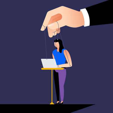Illustration style cartoon concept the boss control employee with micro management like a puppet. Business issue. Vector illustration. Vectores