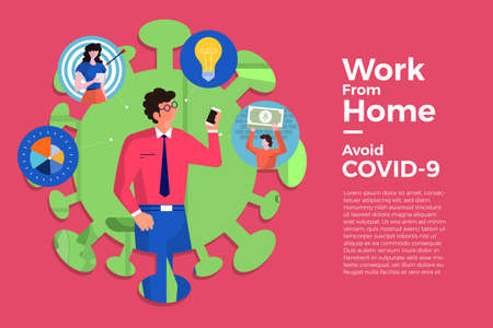 Illustrations concept coronavirus COVID-19. The company allows employees to work from home to avoid viruses. Vector illustrate. Ilustracja