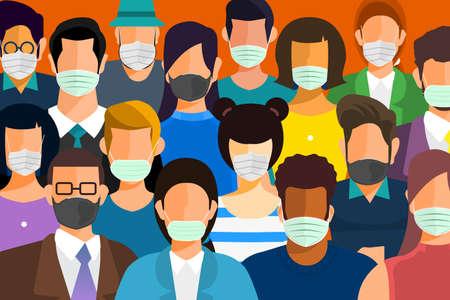 Illustrationen Konzept Coronavirus COVID-19. Viele Menschen tragen Masken, um sich vor Keimen zu schützen. MenschenVektor veranschaulichen.