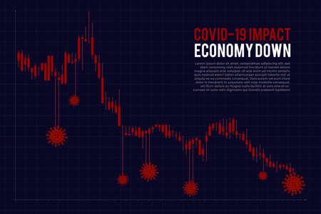 Illustrations concept coronavirus COVID-19 crysis. Economy down. Stock market down. Vector illustrate.