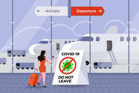 Illustrations concept coronavirus COVID-19. The airport prohibits passengers at risk from entering the country. Vector illustrate.