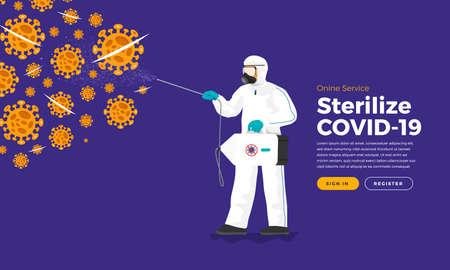 Sterilize coronavirus (COVID-19) Application Service. Vector Illustrations.