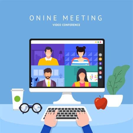 Illustrations flat design concept video conference. online meeting work form home. Vector illustrate. Vektoros illusztráció