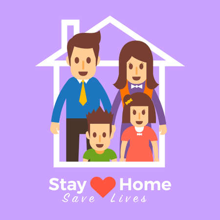 Family stay at home save lives. Illustrations concept family at home. Vector illustrate. Standard-Bild - 147144669