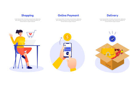 Illustration concept mobile payment. Delivery and shopping concept. Use for banner website and social advertising. Vector illustrate. Illustration