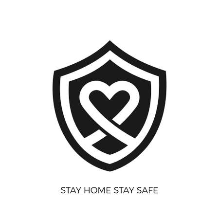 Stay at home save lives. White icon on gradient background. Vector illustrate. Standard-Bild - 147144681