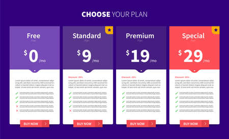Template Design UX/UI price list. User interface panel product price package box and button buy now. Vector Illustrate. Vecteurs
