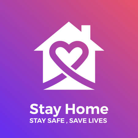 Stay at home save lives. White icon on gradient background. Vector illustrate.