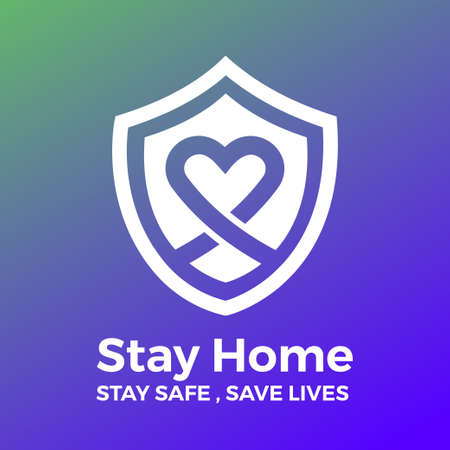 Stay at home save lives. White icon on gradient background. Vector illustrate. Standard-Bild - 147144716