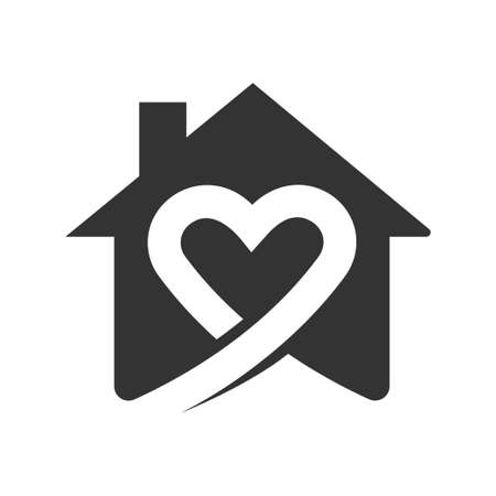 Stay at home save lives. Icon isolated black and white. Vector illustrate.