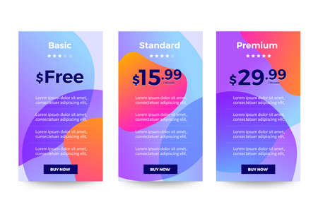 Template Design UX/UI price list. User interface panel product price package box and button buy now. Vector Illustrate. Vektorgrafik