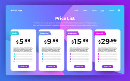 Template Design UX/UI price list. Landing page website product package price box and button buy now. Vector Illustrate. Standard-Bild - 147074082