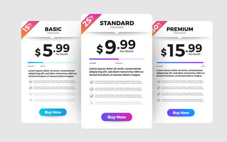 Template Design UX/UI price list. Landing page website product package price box and button buy now. Vector Illustrate. Standard-Bild - 147074542