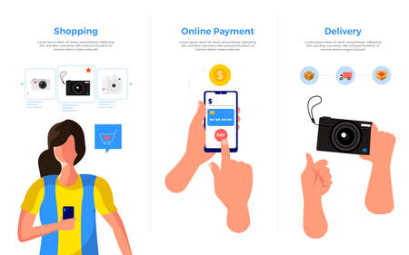Illustration concept mobile payment. Delivery and shopping concept. Use for banner website and social advertising. Vector illustrate. Standard-Bild - 147073988