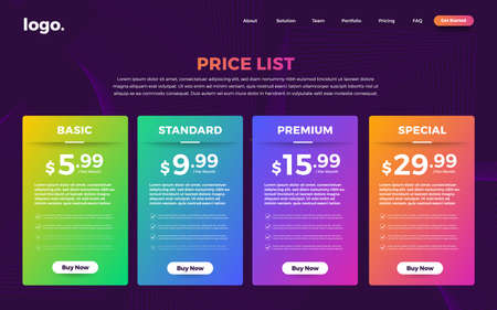 Template Design UX/UI price list. Landing page website product package price box and button buy now. Vector Illustrate. Standard-Bild - 147074427