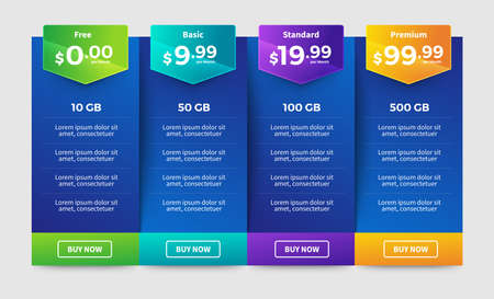 Template Design UX/UI price list. User interface panel product price package box and button buy now. Vector Illustrate. Standard-Bild - 147074270