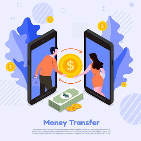 Illustration concept transfer money. Two smartphones transferring money to each other. Vector illustrate.