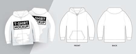Vector Hoodies T-Shirt Template Outline Stroke Illustrations. For t-shirt designer mock up graphic on a shirt. Vector illustrate.