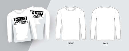 Vector Lobg Sleeve T-Shirt Template Outline Stroke Illustrations. For t-shirt designer mock up graphic on a shirt. Vector illustrate.