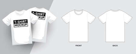 Vector T-Shirt Template Outline Stroke Illustrations. For t-shirt designer mock up graphic on a shirt. Vector illustrate. Standard-Bild - 153099566