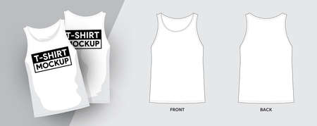 Vector Tank Top T-Shirt Template Outline Stroke Illustrations. For t-shirt designer mock up graphic on a shirt. Vector illustrate.