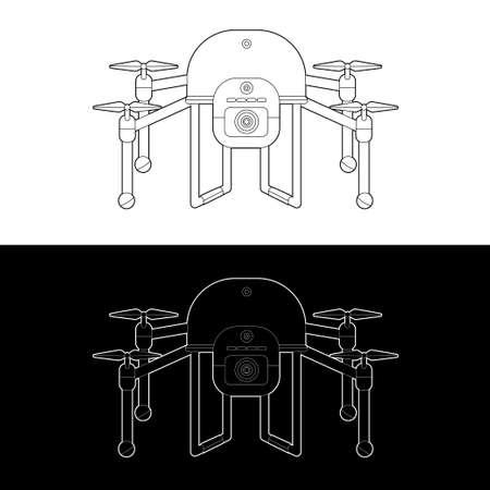 Drones Vector Icon Set. graphic drones Black and White Outline Outline Stroke Illustrate. Vector Illustration. Standard-Bild - 153270622