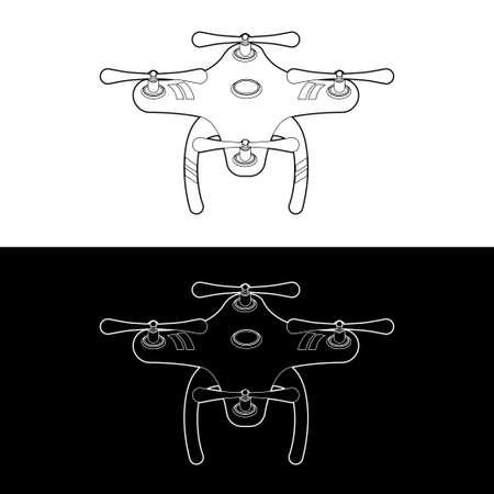 Drones Vector Icon Set. graphic drones Black and White Outline Outline Stroke Illustrate. Vector Illustration. Standard-Bild - 153270621