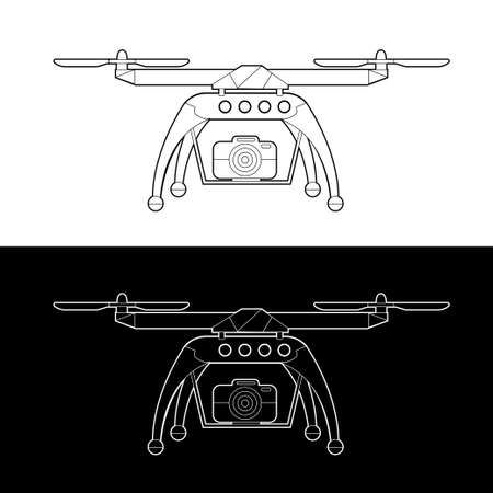 Drones Vector Icon Set. graphic drones Black and White Outline Outline Stroke Illustrate. Vector Illustration.
