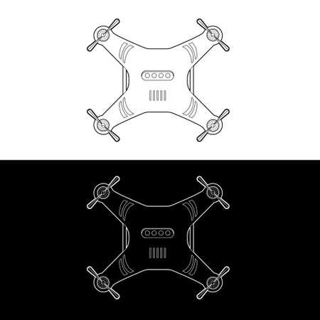 Drones Vector Icon Set. graphic drones Black and White Outline Outline Stroke Illustrate. Vector Illustration. Standard-Bild - 153270626