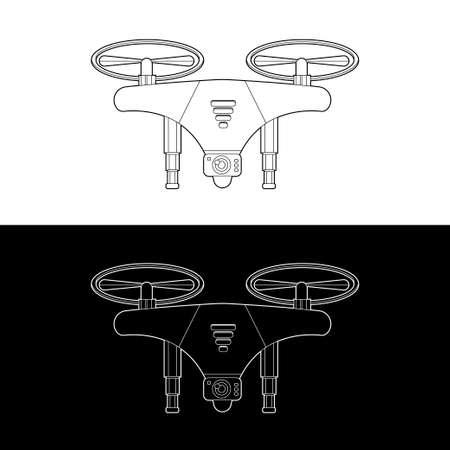 Drones Vector Icon Set. graphic drones Black and White Outline Outline Stroke Illustrate. Vector Illustration. Standard-Bild - 153270627