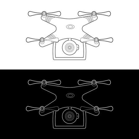 Drones Vector Icon Set. graphic drones Black and White Outline Outline Stroke Illustrate. Vector Illustration. Standard-Bild - 153270625