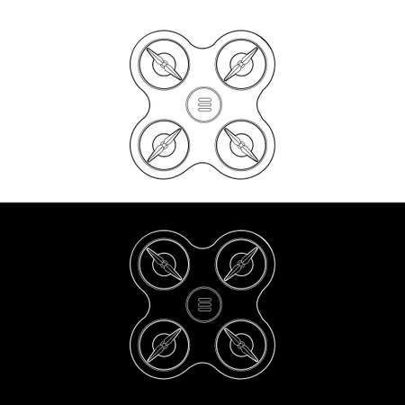 Drones Vector Icon Set. graphic drones Black and White Outline Outline Stroke Illustrate. Vector Illustration. Standard-Bild - 153270633