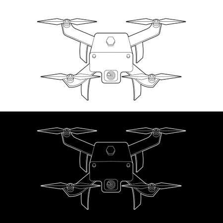 Drones Vector Icon Set. graphic drones Black and White Outline Outline Stroke Illustrate. Vector Illustration. Standard-Bild - 153270636