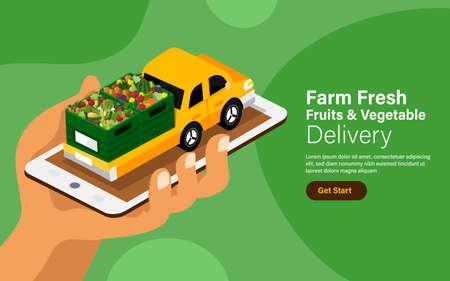 Vector illustrations concept online fruits & vegetables delivery service. Farm fresh food mobile application. Vector illustrate. 矢量图像