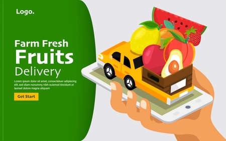 Vector illustrations concept online fruits delivery service. Farm fresh food mobile application. Vector illustrate. Standard-Bild - 153272153