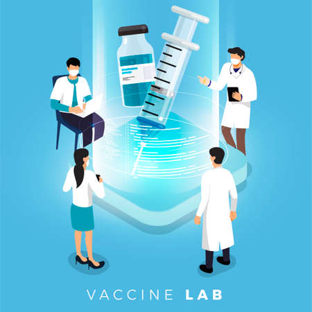 Vector Vaccination Concept. Healthy drug vaccination, injection. Isolated vector illustration.