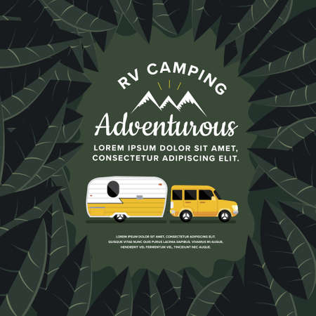 RV Camping illustrations. Vector design concept camper travel journal with RV Cars.