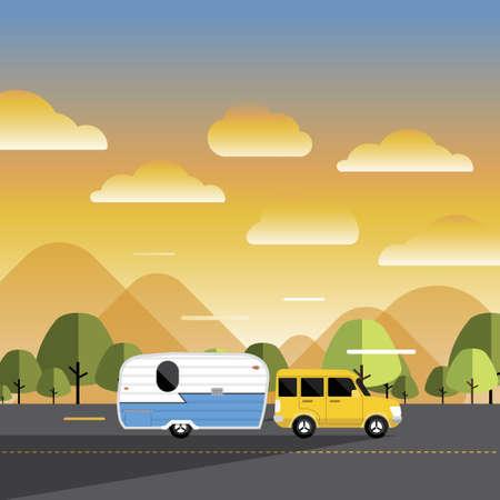 RV Camping illustrations. Vector design concept camper travel journal with RV Cars. Standard-Bild - 153615792