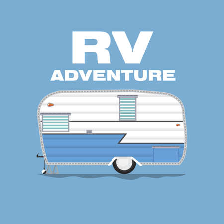 RV Camping illustrations. Vector design concept camper travel journal with RV Cars. Vector EPS 10 Illustrate.