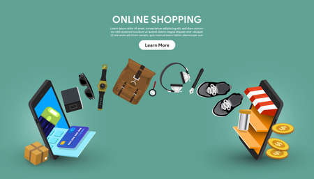 Vector illustrations concept online shoopin. 2 Mobile transfer money and product by online store and payment. Vector Illustrate. Standard-Bild - 153840418