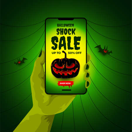 Vector illustrations concept halloween sale. Banner design template. Vector illustrate.