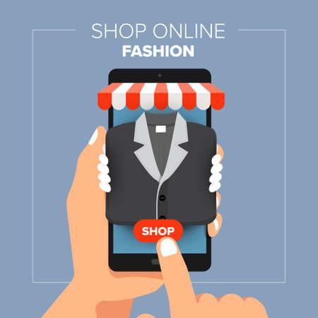 Illustrations flat design concept mobile shop online store. Hand hold mobile sale fashion shopping. Vector illustrate. Vektorové ilustrace