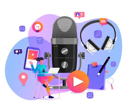 Vector illustrations concept design podcast channel. Teamwork make podcasting.Studio microphone table broadcast people. Podcast radio icon. Vecteurs