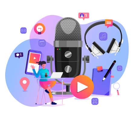Vector illustrations concept design podcast channel. Teamwork make podcasting.Studio microphone table broadcast people. Podcast radio icon. Vektoros illusztráció