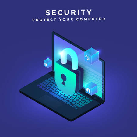 Illustrations concept security computer.Icon key lock 3d. Isometric vector graphic.