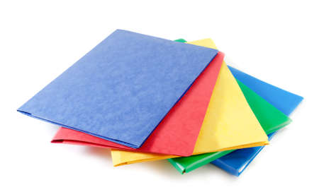 archival: Stack of colorful file folders  on white background