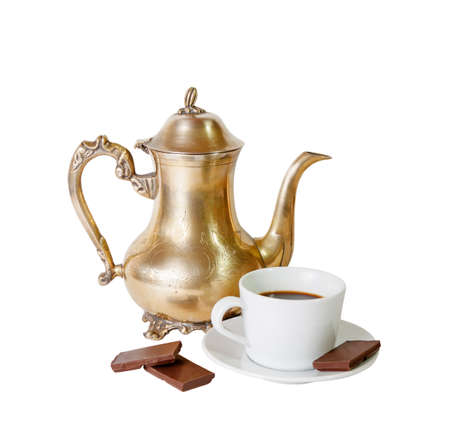 coffee pot: Coffee pot, cup of coffee and chocolate  isolated on white Stock Photo