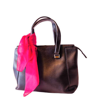 Black handbag and pink scarf  isolated on white background